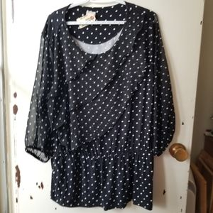 Chicos Blue Tiered Blouse with White Polka Dots